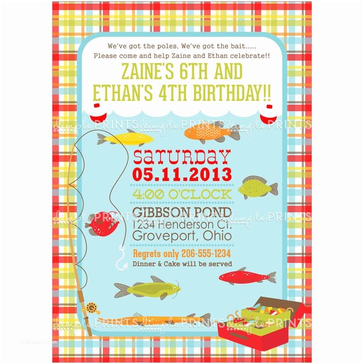 Fishing Birthday Party Invitations Fishing Birthday Party Invite Digital Printable Dimple