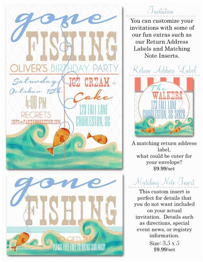 Fishing Birthday Party Invitations Gone Fishing Invitation Fish Party Invites Affordable