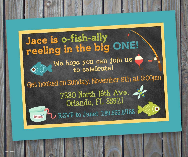 Fishing Birthday Party Invitations Printable Fishing theme Birthday Invitation Fish Fishing