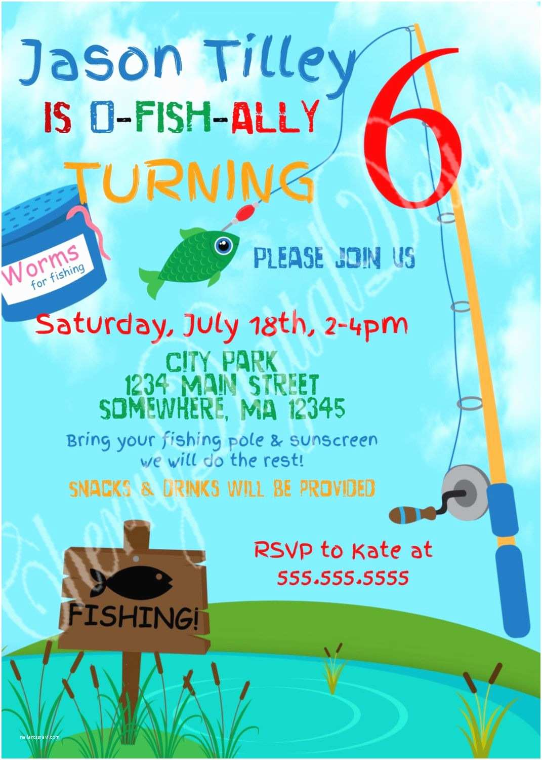 Fishing Birthday Party Invitations Printed or Printable Fishing themed Birthday Invitation