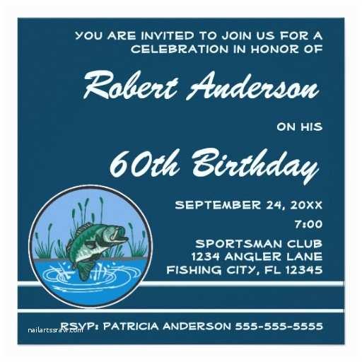 "Fishing Party Invitations Bass Fish Birthday Party Invitation 5 25"""