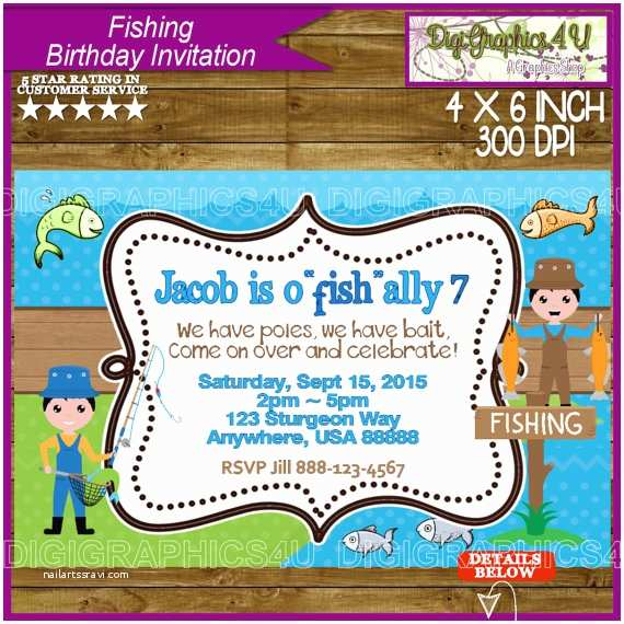 Fishing Party Invitations Fishing Birthday Invitation For Kids By Digigraphics4u On