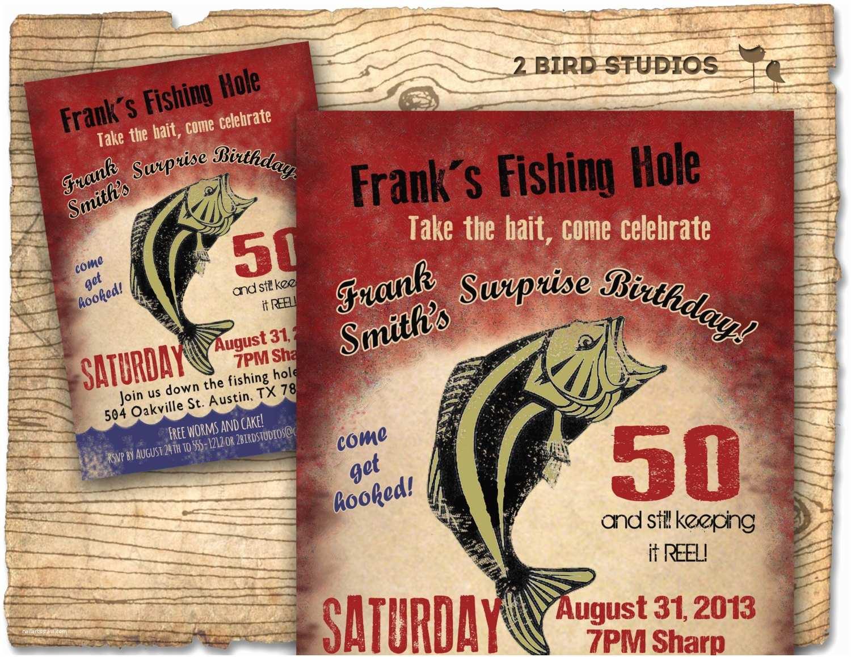 Fishing Party Invitations Fishing Birthday Party Invitation Invite 30th 40th 50th