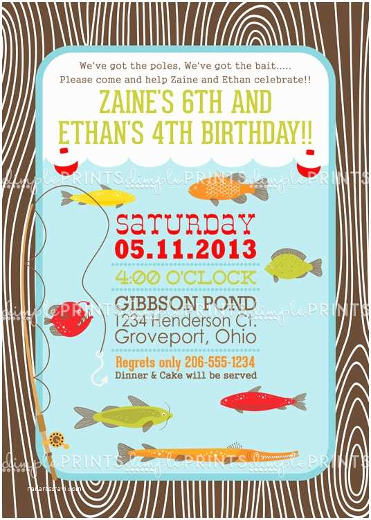 Fishing Party Invitations Fishing Printable Birthday Party Invite Dimple Prints Shop