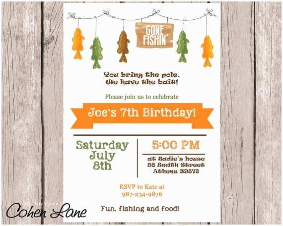 Fishing Party Invitations Printable Fishing Party Invitation Custom Fishing