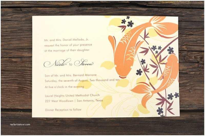 layered koi fish wedding invitations