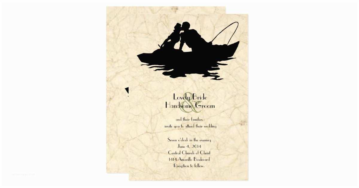 Fishing Wedding Invitations Vintage Fishing Lovers Boat Wedding Invitation