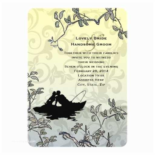 Fishing Wedding Invitations Vintage Fishing Lovers Tree Blue Yellow Wedding 5x7 Paper