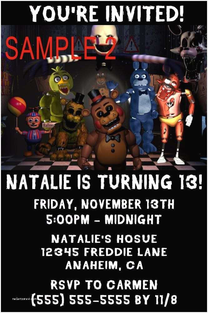 Five Nights at Freddys Birthday Party Invitations 10 Five Nights at Freddy S Birthday Invitations