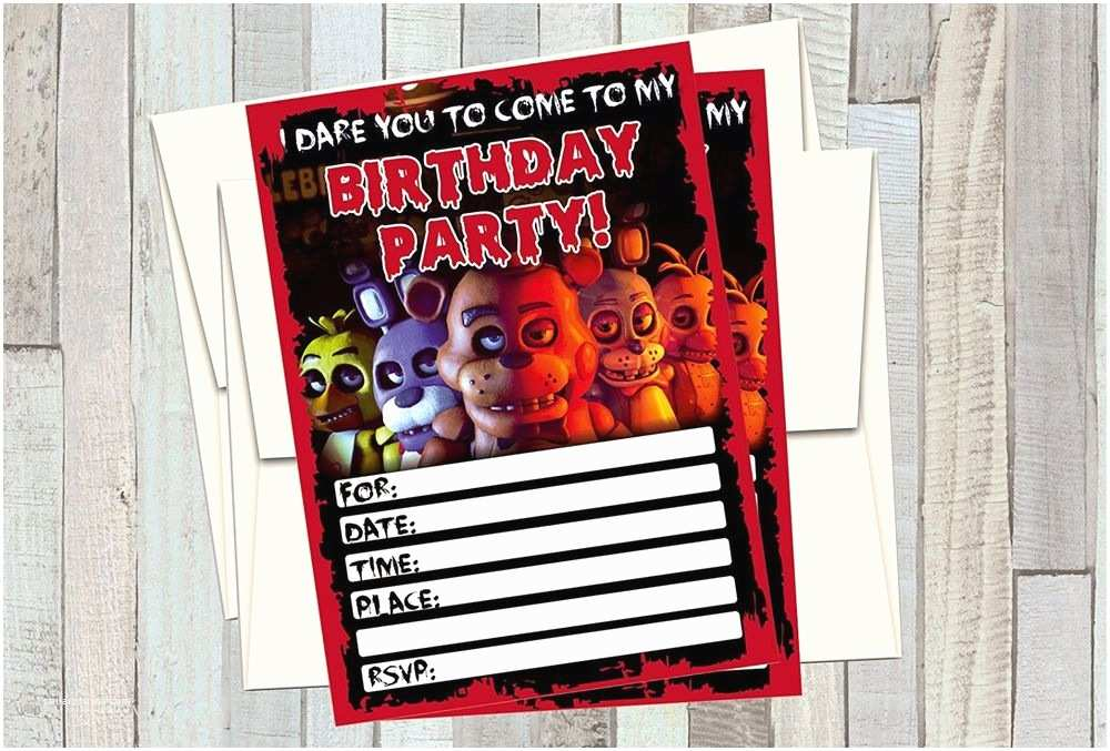 Five Nights at Freddys Birthday Party Invitations 12 Five Nights at Freddys Birthday Invitations 12 5x7in
