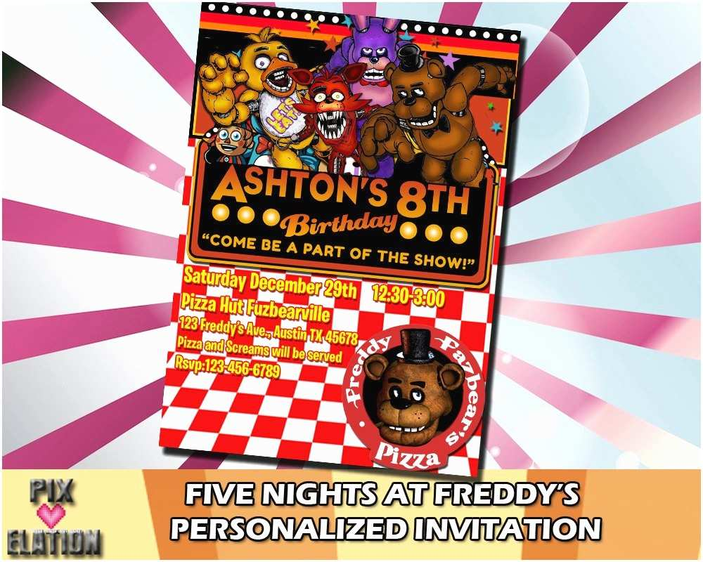 Five Nights at Freddys Birthday Party Invitations 5 Nights at Freddy S Invitation Decor Picture by