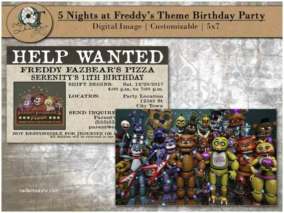 Five Nights at Freddys Birthday Party Invitations Custom Five Nights at Freddy S Birthday Party Invitations