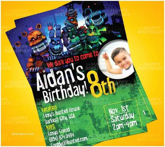 Five Nights at Freddys Birthday Party Invitations Five Nights at Freddy S 4 Kids Birthday Invitation Five