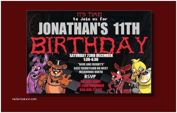 Five Nights at Freddys Birthday Party Invitations Five Nights at Freddy S Birthday Invitation by