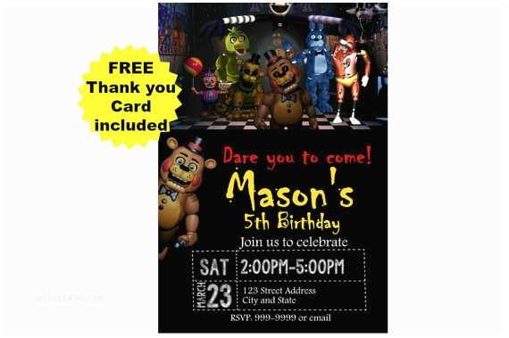 Five Nights at Freddys Birthday Party Invitations Five Nights at Freddy S Birthday Invitation Five Nights