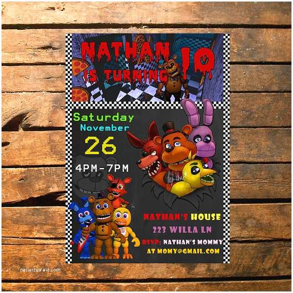 Five Nights at Freddys Birthday Party Invitations Five Nights at Freddy S Birthday Invitation Fnaf