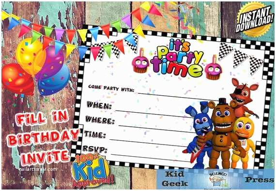 Five Nights at Freddys Birthday Party Invitations Five Nights at Freddy S Fnaf Birthday Invitation 5