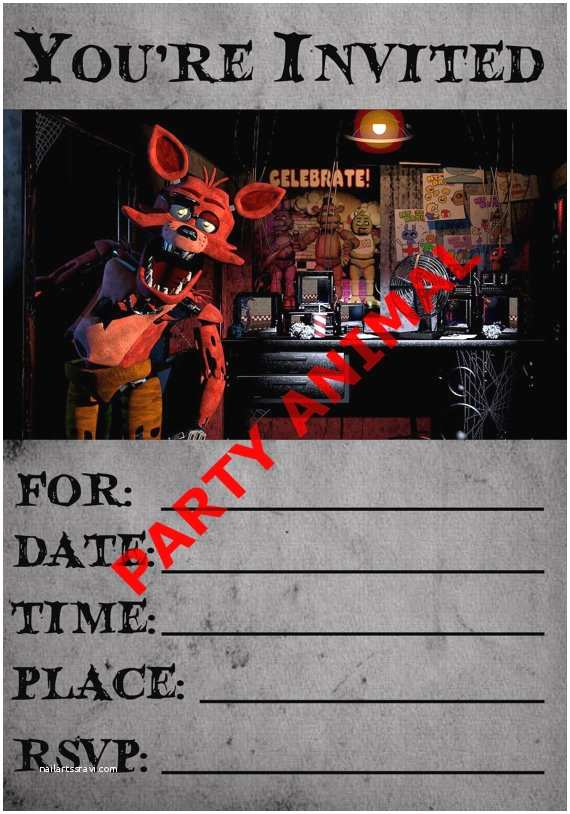 Five Nights at Freddys Birthday Party Invitations Five Nights at Freddy S Foxy Party Invitation Instant