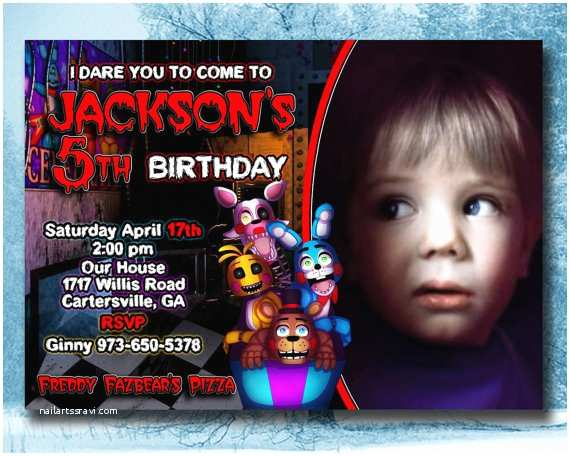 Five Nights at Freddys Birthday Party Invitations Five Nights at Freddy S Invitation 5 Nights at by