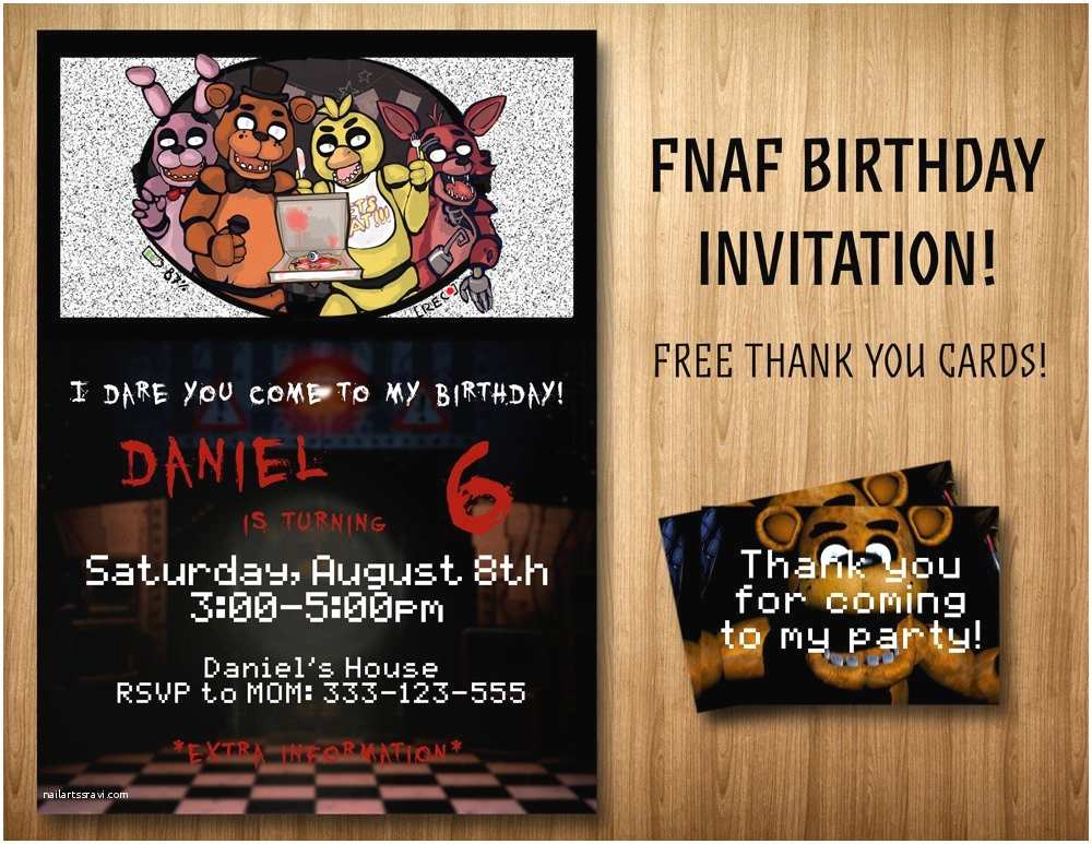 Five Nights at Freddys Birthday Party Invitations Five Nights at Freddy S Invitation Bonus by
