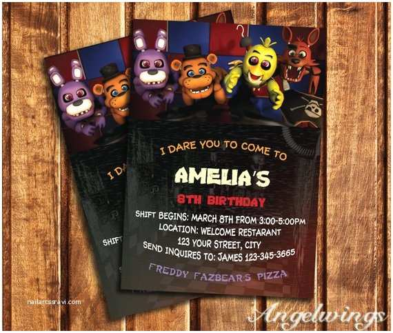 Five Nights at Freddys Birthday Party Invitations Five Nights at Freddy S Invitation Five Nights by