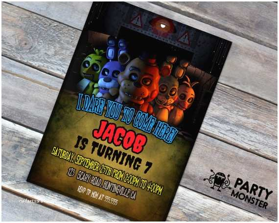 Five Nights at Freddys Birthday Party Invitations Five Nights at Freddy S Invitation Fnaf Birthday Party
