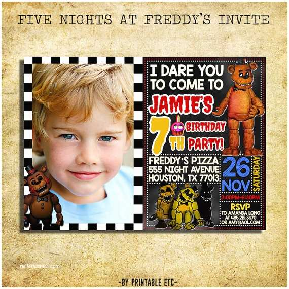 Five Nights at Freddys Birthday Party Invitations Five Nights at Freddy S Invitation Fnaf Five Nights at