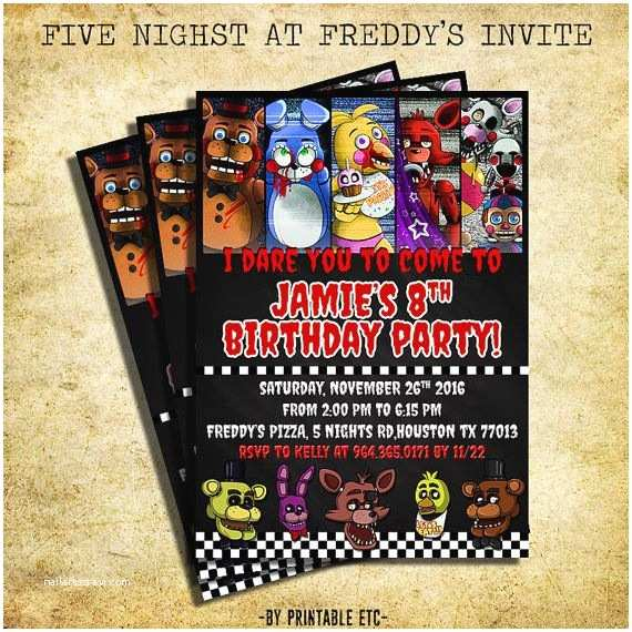 Five Nights at Freddys Birthday Party Invitations Five Nights at Freddy S Invitation Fnaf Invitation
