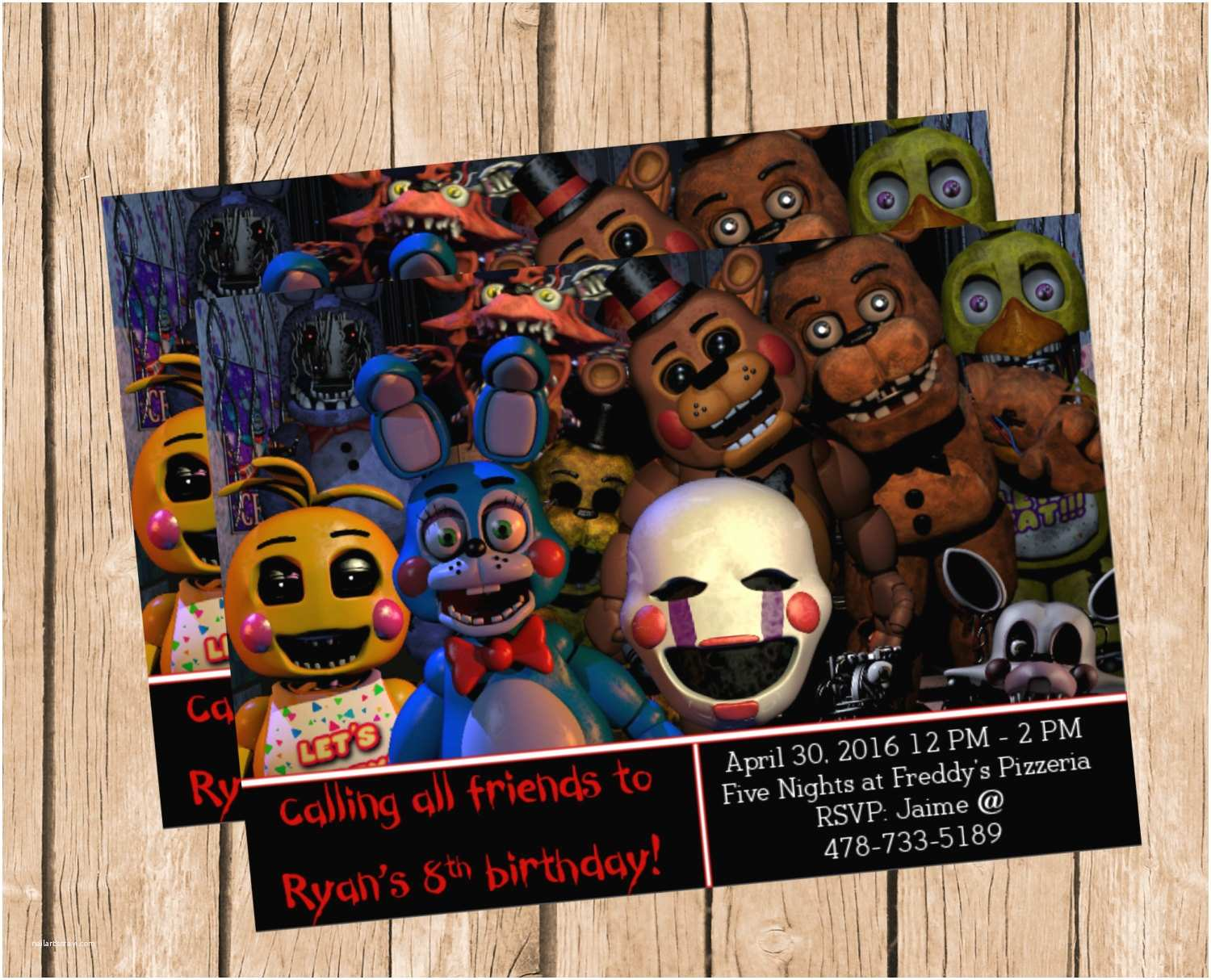 Five Nights at Freddys Birthday Party Invitations Five Nights at Freddy S Invitation