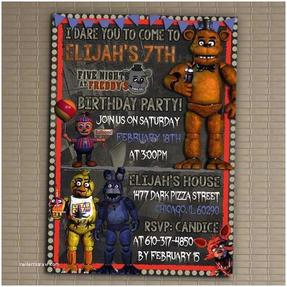 Five Nights at Freddys Birthday Party Invitations Five Nights at Freddy S Invitation You Print Invitation