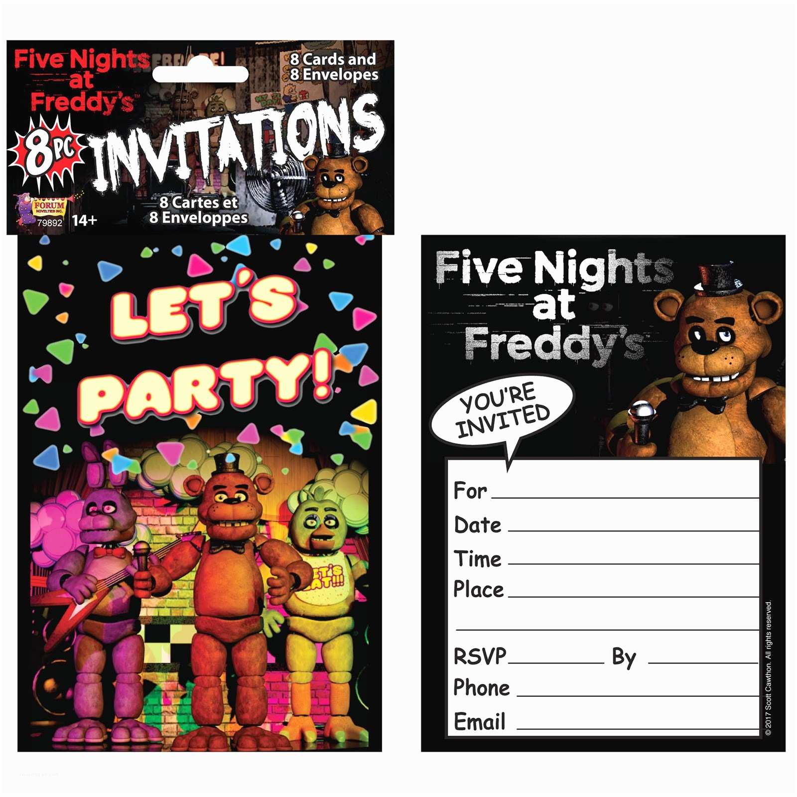 Five Nights at Freddys Birthday Party Invitations Five Nights at Freddy S Invitations 8