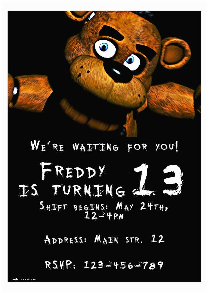 Five Nights at Freddys Birthday Party Invitations Five Nights at Freddy S Personalized