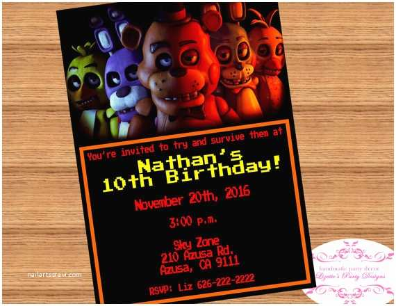 Five Nights at Freddys Birthday Party Invitations Fnaf Five Nights at Freddy S Birthday Invitation Digital