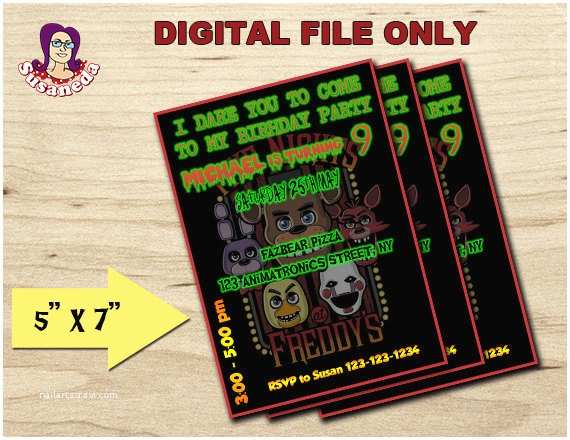 Five Nights at Freddys Birthday Party Invitations Fnaf Personalized Invitation 5x7 Fnaf Birthday