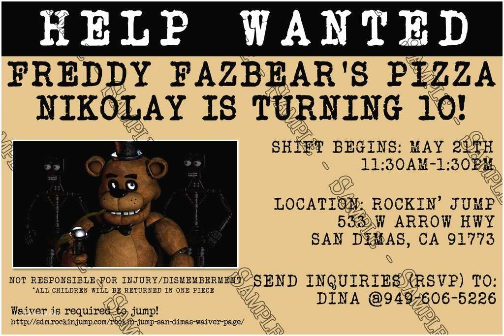 Five Nights at Freddys Birthday Party Invitations Novel Concept Designs Five Nights at Freddy S Video Game