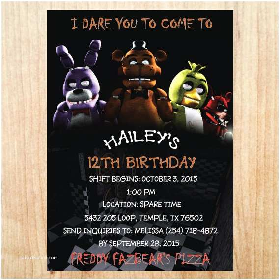 Five Nights at Freddys Birthday Party Invitations Printable Five Nights at Freddy S Invitation Five Nights