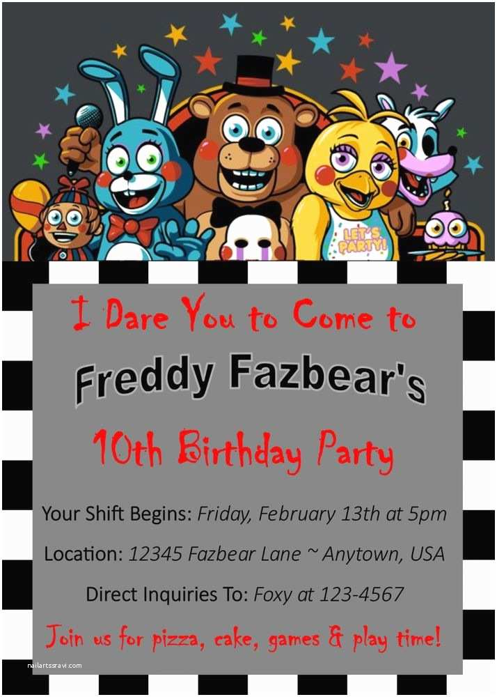 Five Nights at Freddys Birthday Party Invitations the 25 Best Custom Birthday Invitations Ideas On
