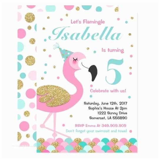 Flamingo Birthday Party Invitations Flamingo Birthday Invitation topical Pool Party