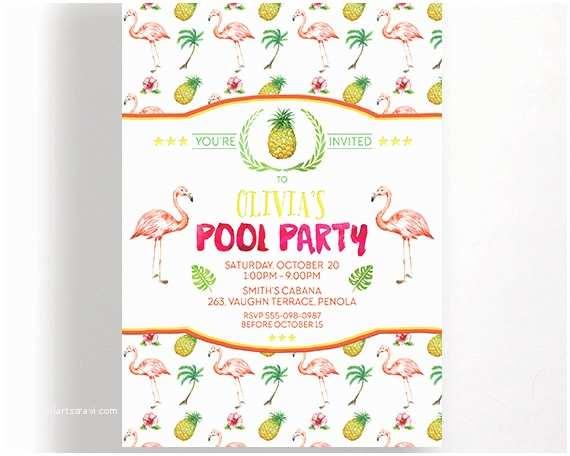 Flamingo Birthday Party Invitations Flamingo Party Invitations