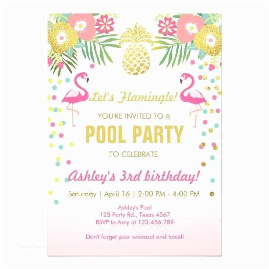Flamingo Birthday Party Invitations Flamingo Pool Party Invitation Tropical