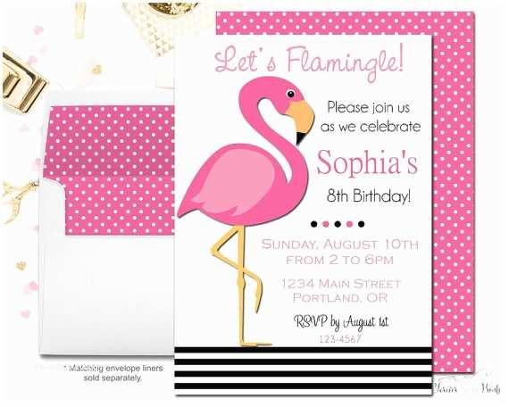 Flamingo Birthday Party Invitations Pink Flamingo Invitation Flamingo Party Invitation Pink