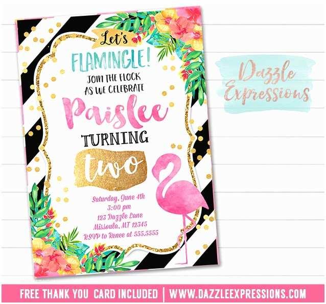 Flamingo Birthday Party Invitations Printable Watercolor Flamingo Birthday Invitation Luau