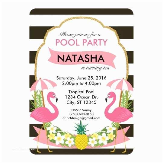Flamingo Birthday Party Invitations Tropical Flamingo Party Invitation 5x7
