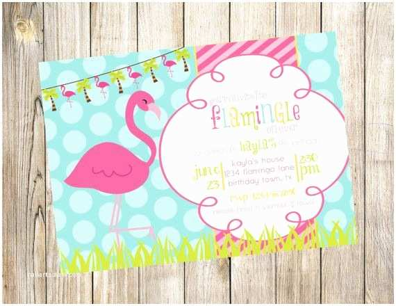 Flamingo Party Invitations Colorful Flamingo Birthday Party Invitation by
