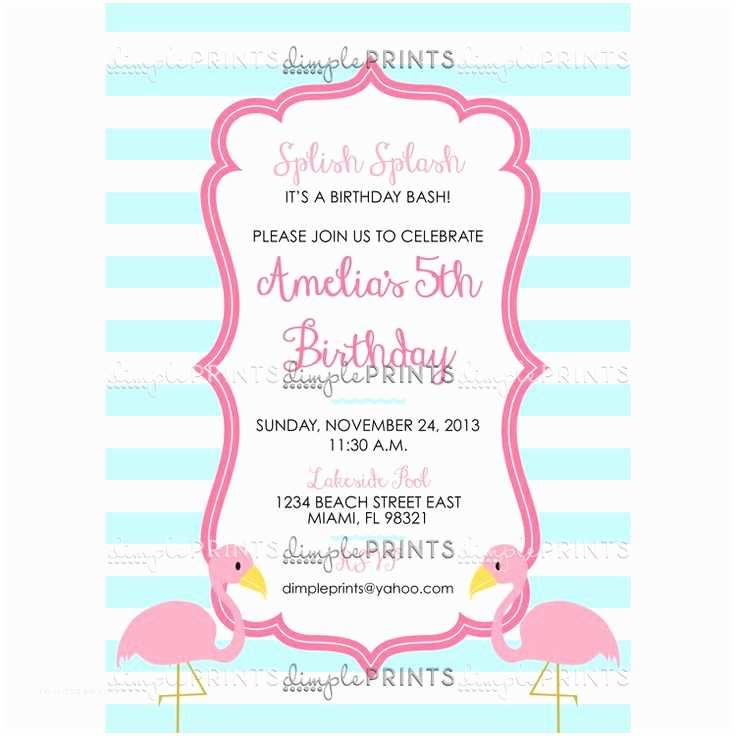 Flamingo Party Invitations Flamingo Birthday Party Invite by Dimpleprints