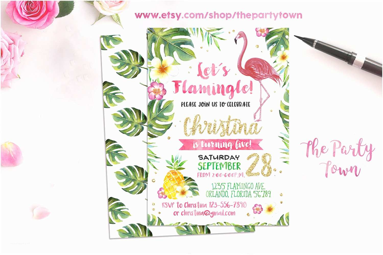 Flamingo Party Invitations Flamingo Invitation Pineapple Birthday Party Invitation