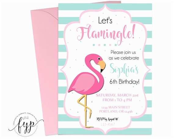 Flamingo Party Invitations Flamingo Party Invitation Girls Birthday Invitation