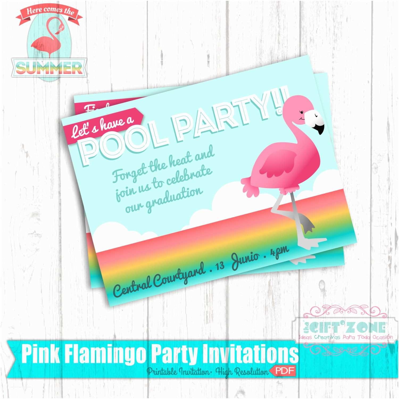 Flamingo Party Invitations Flamingo Pool Party Birthday Invitation Flamingo Sunset