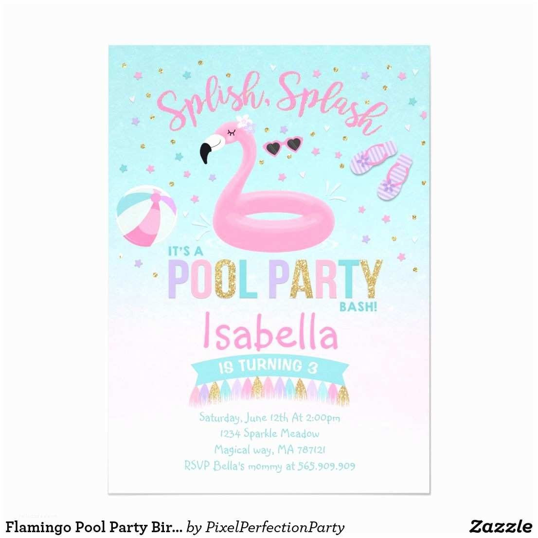 Flamingo Party Invitations Flamingo Pool Party Birthday Invitation Pink Gold