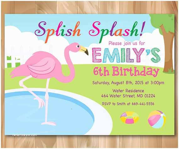 Flamingo Party Invitations Flamingo Pool Party Invitation Girl Pool Birthday Party